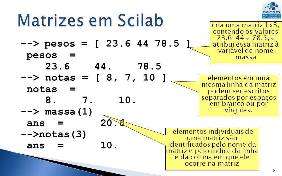 Matrizes em Scilab --> pesos = [ 23.6 44 78.5 ] pesos =